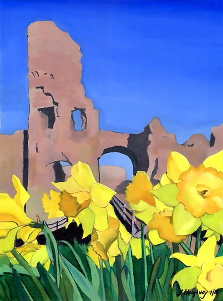 Pevensey castle Dafodils landscape picture